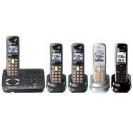 Panasonic KX TG6440PK - Cordless phone w/ call waiting caller ID & answering system - DECT 6.0 - black metallic + 4 additional handset(s)