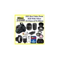 Nikon D3100 Digital SLR Camera w/ 18-55mm Nikkor Vr Lens + Sigma 70-300mm f/4-5.6 DG Macro Autofocus