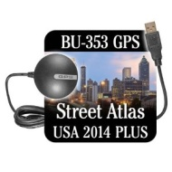 GlobalSat Weatherproof BU-353 GPS with Street Atlas 2014 Plus