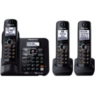 Panasonic KX-TG6643B DECT 6.0 Cordless Phone with Answering System - 3 Handsets - Black