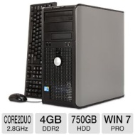 Dell Optiplex 760 Minitower PC - Intel Core 2 Duo 2.8GHz, 4GB DDR2, 750GB HDD, DVDRW, Windows 7 Professional 64-bit, Mouse & Keyboard (RB-825633301092