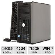 Dell Optiplex 760 Minitower PC - Intel Core 2 Duo 2.8GHz, 4GB DDR2, 750GB HDD, DVDRW, Windows 7 Professional 64-bit, Mouse & Keyboard (RB-825633301092