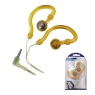 Ex-Pro Trendy hook-on-ear Yellow headphone. iPod, MP3 Player headphones with ear hooks. Water resistant.