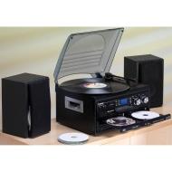 Steepletone SMC595 Black - NOSTALGIA RETRO 5-IN-1 MUSIC SYSTEM WITH CD BURNER/ Vinyl to CD, CD to CD, Cassette to CD, Radio to CD & Aux to CD! (Record
