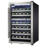 "Danby DWC114BLSDD 20"" Wine Cooler With 38 Bottle Capacity Tempered Glass Door Reversible Door Swing White LED Thermostat Programmable Temperature and"