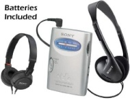 Sony Walkman Compact Portable Lightweight AM/FM Stereo Radio with Convenient Belt Clip, Over the Head Stereo Headphones & Lightweight Studio Monitor S