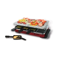 Swissmar Classic 8 Person Raclette w/ Hot Stone Grill Top - Red