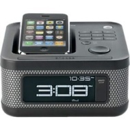 Memorex - Clock Radio Speaker System for Apple iPod and iPhone - Charcoal Black MI4604PBLK