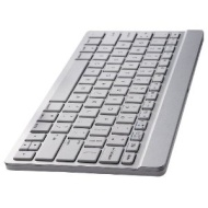 Perixx PERIBOARD-804i UK, Wireless Bluetooth Keyboard - Silver & White - Up to 10 Meters Operating Range - Ultrathin 6.5mm Design - 261x129mm Portable