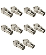 Sosupplies 5 X Female 5 X Male Tv Aerial Connector Plug / Socket . Aerial Coaxial Coax Cable