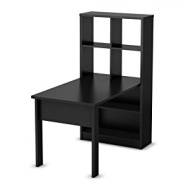 South Shore Annexe Collection Work Table and Storage Unit Combo Pure Black Pure Black
