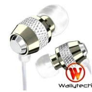 metal earphones genuine wallytech packaged by bosen in blue and white (white)