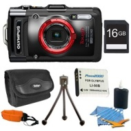 Olympus STYLUS TG-2 iHS 12MP 4x Wide/8x SR Zoom HD Digital Camera Black Plus 16 GB Kit
