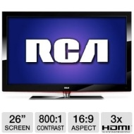 RCA 26LA30RQD 26 Class LCD HDTV/DVD Combo - 720p, 1366 x 768, 16:9, 800:1, 5 ms, HDMI, VGA (Refurbished)