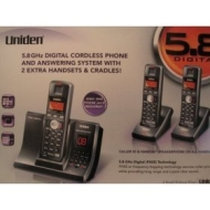Uniden TRU 12803 5.8 GHz Digital Expandable Cordless Speakerphone with Caller ID w/ 2 Extra Handsets