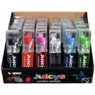 VIBE Juicys Comfort Earbud Stereo Headphones w/3.5 mm Jack (24-pack - Six (6) Colors)