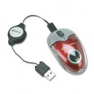 Innovera Optical Mini Wired Mouse w/Retractable USB Cable, 2-Button/Scroll, Red