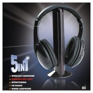 5 in 1 HiFi Wireless Headphone Earphone FM Radio Monitor MP3 PC TV Audio Mobile Phones