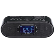 Sharp DK-CL6N - Cassette clock radio with iPod cradle - glossy black