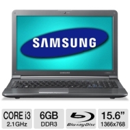 "Samsung Refurbished Black 15.6"" RC512-W01 Laptop PC with Intel Core i3-2310M Processor, Blu-ray Disc Drive and Windows 7 Home Premium"