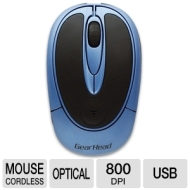 Gear Head MP2100BLU Wireless Optical Mouse - USB Blue/Black New