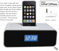 Ottavo OT3040ws Docking Station for iPhone 5, 4, 4S, 3G, 3GS, iPod & iPod Touch with Dual Alarm, Radio, Clock and Remote Control (White Color)