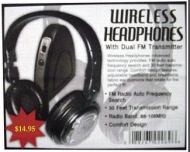 Wireless Headphones with Dual FM Transmitter