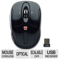 Gear Head MPT3300BLK Optical Wireless Mouse - 2.4 GHz Tilt-Wheel Black New