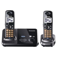 Panasonic KX-TG9322T 2-Line DECT 6.0 Cordless Phone, Metallic Black, 2 Handsets