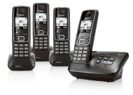 Gigaset A420A Quad DECT Cordless Phone with Answer Machine - Black