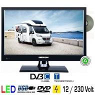 "LED TV Backlight 15.6"" Zoll 39,6cm Fernseher DVD DVB-C + T 230V USB HDMI 12 Volt für Womo Caravan Wohnwagen Boot usw."