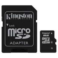 Kingston 8GB microSDHC Memory Card w/ SD Adapter