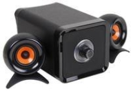 Zyon Black 2.1 PC Speakers with Orange Coned Satellites - 10W RMS inc 3.5mm Stereo Connection
