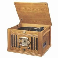 CROSLEY CORP. CR-67-OA Antique Style Phonograph with Radio and Cassette (Oak Case)