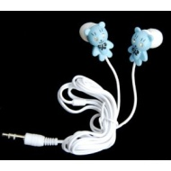 Blue teddy bear earphones