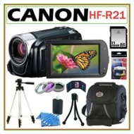 Canon VIXIA HF-R21 32GB Flash Memory HD Camcorder + 32GB Deluxe Accessory Kit