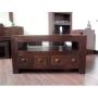 Homescapes - Dakota - TV / DVD 4 Drawer Unit - Dark - 100% Solid Mango Hard Wood - ( No Veneer ) Hand Crafted Furniture