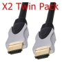 World of Data® - 2 x 1m HDMI Cable (Twin Pack) - Professional Quality / 1080p (Full HD) / v1.3 (The Latest) / Audio & Video / 24k gold Plated / Stylis
