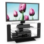 AT-1420 Atlantic 40 in. Midnight Black TV Stand with Glass Shelves SOX024