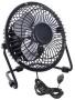 "5"" Cooling Mini Fan (USB Powered) - Quiet - Adjustable Tiltable - Black (High Quality Metal version) - 12.5cm Portable Cool Desk Table USB Fan - plugs"
