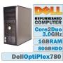 Dell Optiplex 780  Windows 7 Pro  2GB  DVDRW  Core 2 Duo  3 GHz  160GB HD