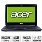 Acer Aspire AO722-0828 Refurbished Notebook PC - AMD Fusion C-60 1.0GHz, 4GB DDR3, 500GB HDD, 11.6 Display, ATI Radeon HD 6290 Graphics, No DVD-ROM, W