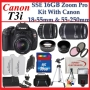 Canon EOS Rebel T3i SLR Digital Camera Kit with Canon 18-55mm IS Lens + Canon 55-250mm IS Lens + Huge Accessories Package Including Wide Angle Macro L