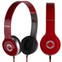 DeepBass MD-81 Premium Studio Style High Definition Sound Folding Headphones With Microphone and Playback Controls For Your Mobile Phone - Red