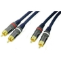 Masterplug Performance Series 2 Phono to 2 Phono Plug audio patch lead, Gold plated, 1 metre long