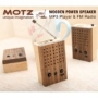 Motz Tiny Wooden Power Speaker (Built-in FM Radio &amp; Support for USB Flash Drive/SD Memory Card)