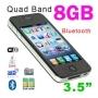 A&S i9 4G Mobile Phone 3.5' Touchscreen GSM Quadband Dual Sim Bluetooth MP3 MP4 WiFi Unlocked - Black (8GB)