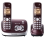 Panasonic KX-TG6672B DECT 6.0 Corded/Cordless Phone with Digital Answering System, Black, 2 Handsets