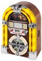 iTek Mini Jukebox (2 year Guarantee) Table Top - CD Player - AM & FM Radio - Colour Changing Tube Lights - Mains Electric - Real Wood Veneer - Light H
