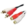 RCA Fono Gemelo Clavijas A Enchufes Extensión Cable Audio Cable Oro 3 m